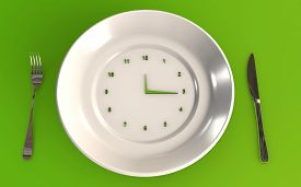 Time To Eat Healthy 3d Rendered Concept With A Table Plate A Knife And A Fork On Green Background 3d