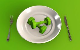 Training Hard Instead Of Eating 3d Rendered Concept Isolated On Green Background 3d Rendering