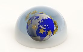 3D Rendering Of The European Union With Gold Stars Protected