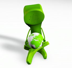 3D Rendering Of A Telephone Character Holding The Globe In His Hands