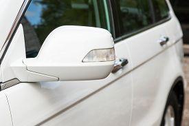Novosibirsk/ Russia - May 02 2020: Honda Cr-v, Side Mirror Of A Car Close-up. Exterior Detail