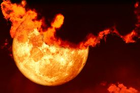 Super Blood Moon And Red Silhouette Cloud Sky In The Night Sky