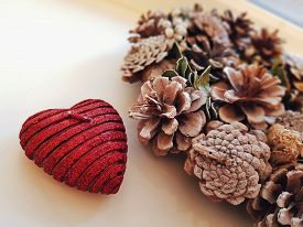 Christmas Xmas New Year Holiday Cone Wreath Heart Shaped Candle Photo