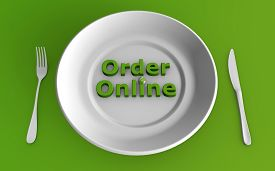3d Rendering Of Ordering Food Online Concept With A Dining Set On Green Background