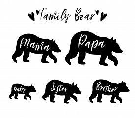 Family Bear Mama Bear, Papa, Sister, Brother, Baby Bear Set. Family Clip Art. Black Bear Family Prin