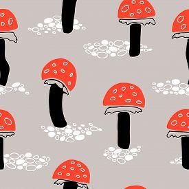 Orange Fly Agaric Mushroom Seamless Pattern On Greyish Background.