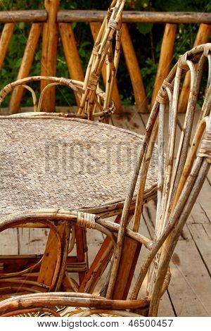 Wicker Chairs And Table Profile
