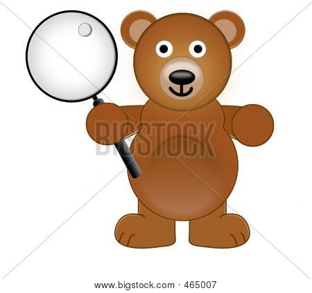 A Teddy Bear Holding With A Magnifying Glass