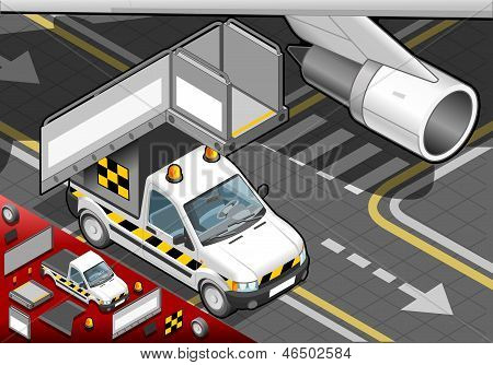Isometric Airport Boarding Stair Car In Front View