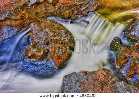 River Rock Rapids and water fall in HDR High Dynamic Range poster