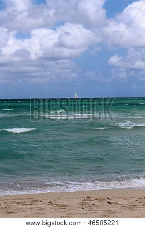 Sailboat on a sunny day at the beach