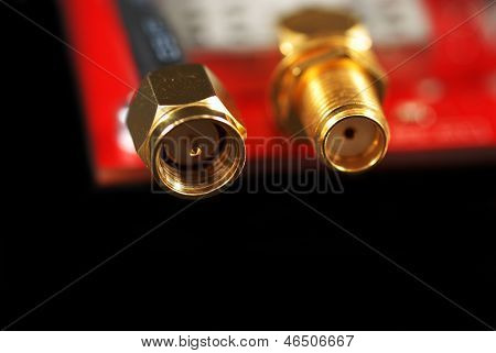 miniature sma connectors for coaxial cable in an electronics board poster