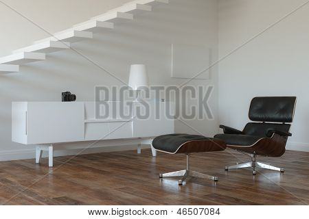 White Lounge Minimalistic Room With Upstairs