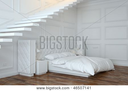 White Bedroom Interior With Stairs (Perspective View)