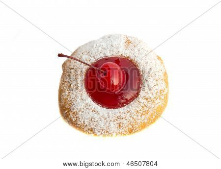 Bakery Food, Cherry Fruit Donut Isolated