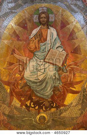 Jesus Christ Mosaic In Orthodox Church, Petersburg