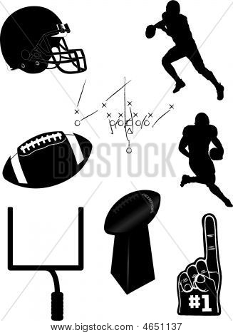 A wide assortment of vector illustrations elements related to American Football poster