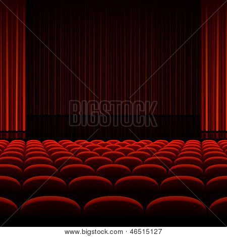 Theater interior with red curtains and seats. Vector. poster