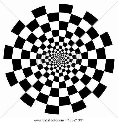Optical Illusion, Checkerboard Spiral Design Pattern