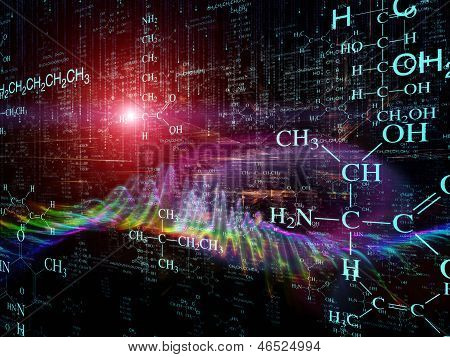 Science series. Arrangement of chemistry formulas and design elements in perspective on the subject of business science education and technology poster