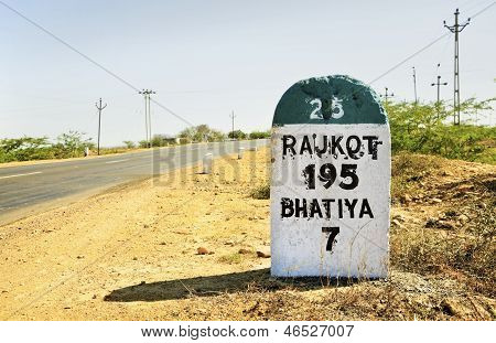 Rajkot 195 Milestone On State Highway 25