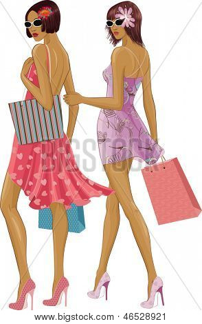 Two chic young women with shopping bags isolated over white background. Under sunglasses the faces are completely painted.