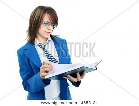 Business Girl Opening Notebook