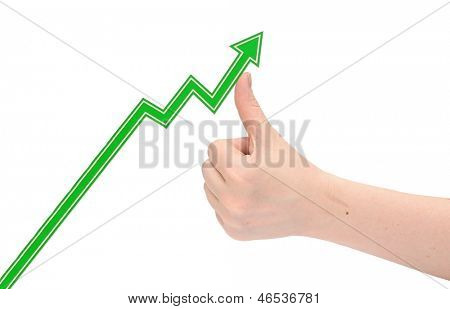 hand holds the arrow graph on a white background