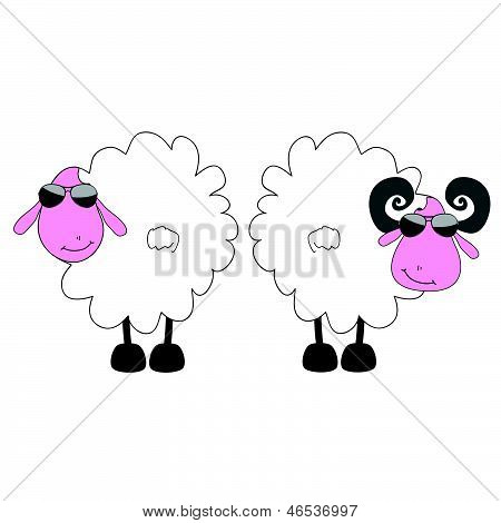 sheep and ram cartoon art vector on a color poster