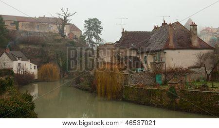 Foggy morning in Semur-en-Auxois.  Burgundy, France
