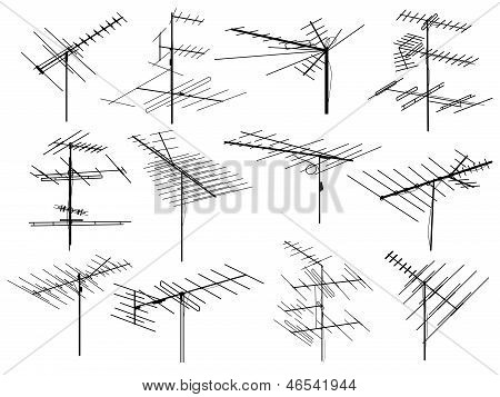 Set Of Silhouettes Of Different Television Aerial Wire.