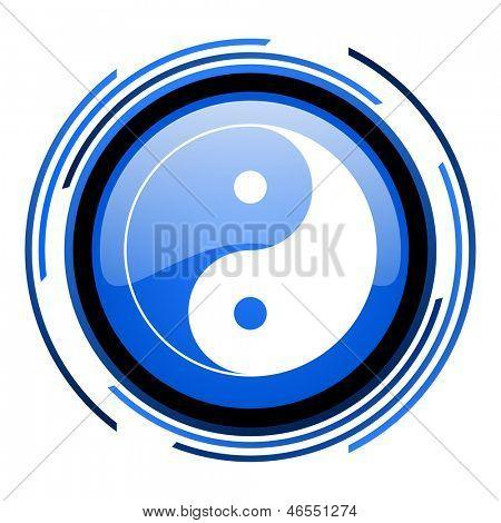 ying yang circle blue glossy icon poster