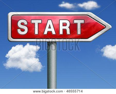 start button start icon begin new beginning origin red road sign arrow