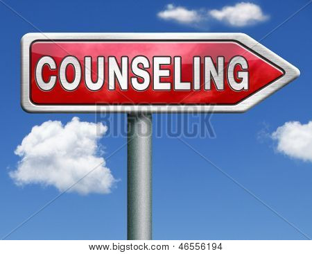 Counseling marriage therapy psychotherapy psychology session professional help red road sign arrow with text and word concept