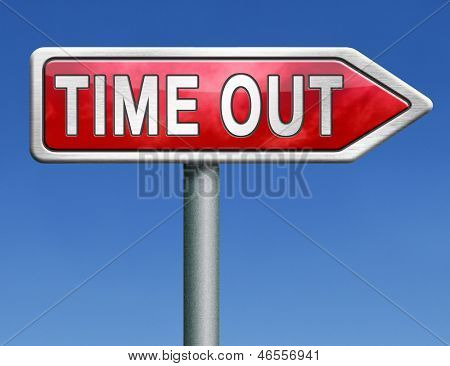 time out take a break leisure time off relaxation taking a holliday red road sign with text word concept