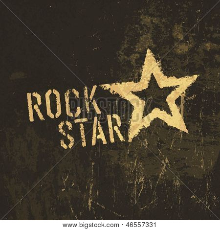 Rock star grunge icon. With stained texture. Raster version, vector file available in my portfolio.