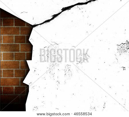craked open wall with inner brickwall visible