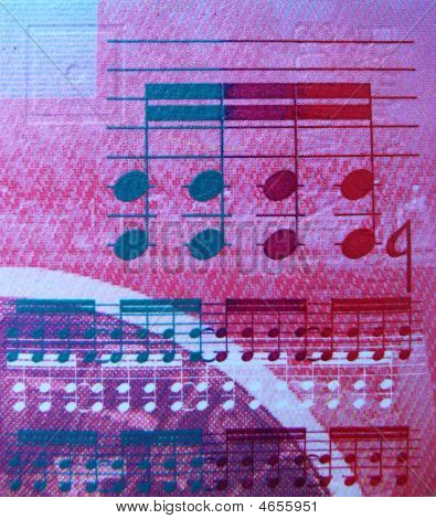 Close-up of a swiss bank note with music notes poster