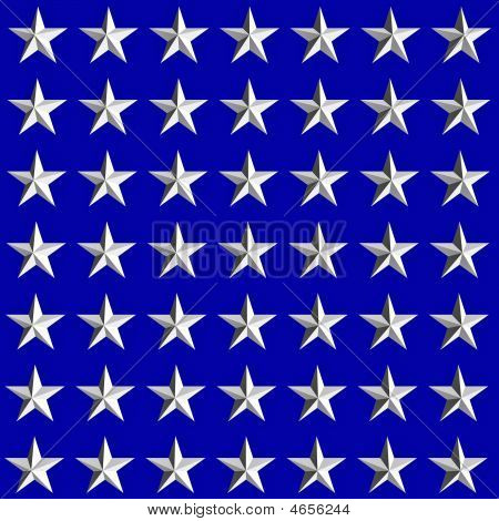 White Stars On Blue Background, 3D  Generated