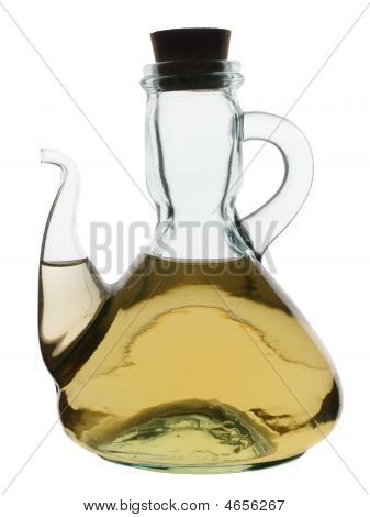 Glass Jug With White Wine Vinegar Isolated On White