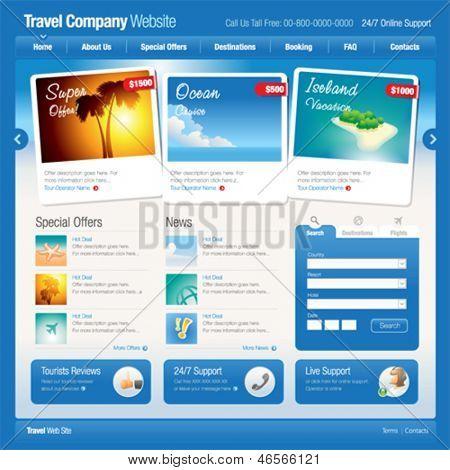 Vector website template 8: Tourism