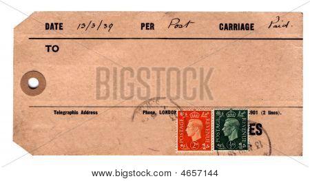 1930S Parcel Tag