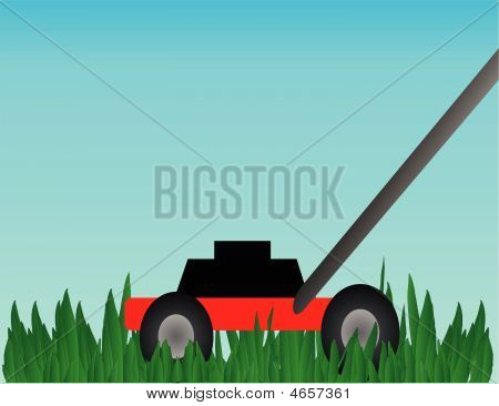 Push Lawn Mower Illustration