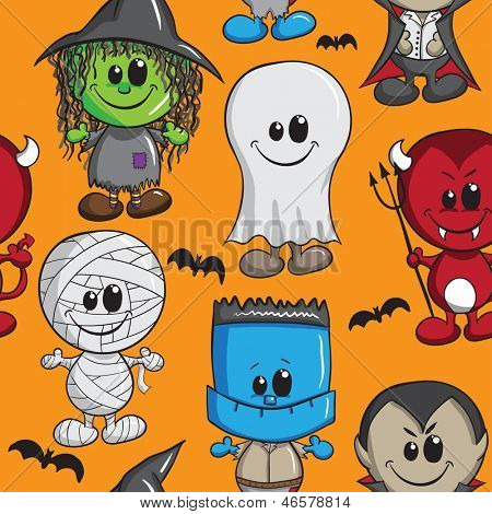 Seamless background - Halloween kids - Witch, Devil, Monster, Mummy, Dracula and Ghost