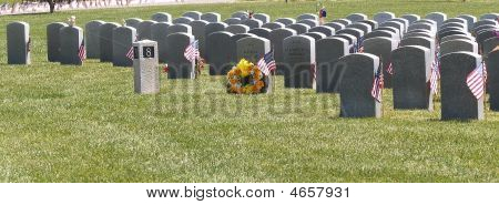 Yellow Wreath At Veterans Grave