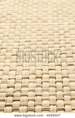 Abstract Yellow Woven Thatch Textured Background With Shallow Depth Of Field