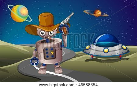 Illustration of a robot at the road with a spaceship in the outerspace