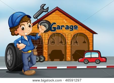 Illustration of a boy standing in front of a garage