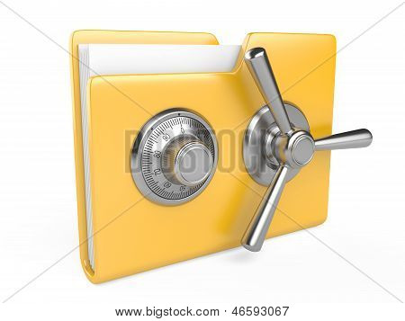 Yellow Folder And Combination Lock