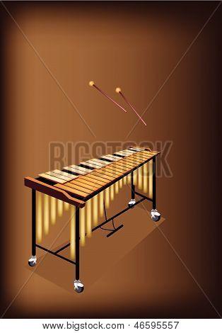 A Retro Vibraphone On Dark Brown Background